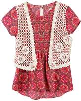 Speechless Girls 7-16 Crochet Vest & Smocked Top with Necklace