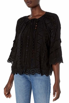 Johnny Was Women's Rayon Buttonfront Blouse with Sleeve Detail and Embroidery