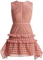 Self-Portrait Crosshatch-lace sleeveless dress