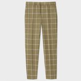 Paul Smith Women's Classic-Fit Khaki Windowpane-Check British Wool Trousers
