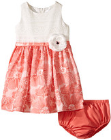 Us Angels Brocade Lace Sleeveless Dress w/ Satin Ribbon Trim (Infant)