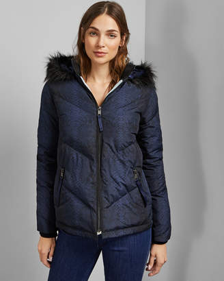 Ted Baker SUZIIY Quilted snake print padded jacket