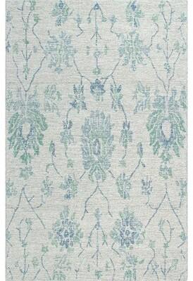 Company C Floral Wool Blue Area Rug CompanyC Rug Size: Rectangle 2' x 3'