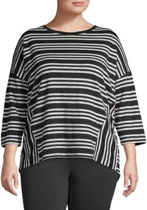 Lord & Taylor Plus Striped High-Low Top