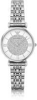 Emporio Armani T-Bar Silvertone Stainless Steel Women's Watch w/Crystals Dial