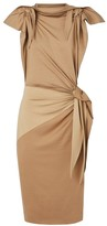 Burberry Knotted Stretch-Silk Sheath Dress