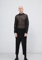 Rick Owens black alpaca gauze oversized turtleneck pullover