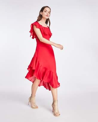 Nicole Miller Solid Silk Blend Flutter Sleeve Dress
