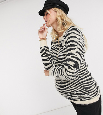 Mama Licious Mamalicious Maternity soft touch jumper with crew neck in zebra
