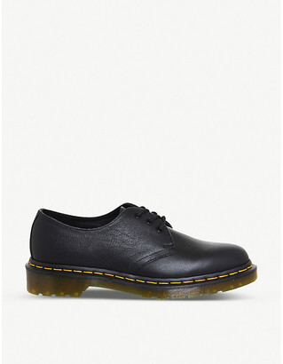 Dr. Martens Women's Black Virginia tartan 3-Eyelet Leather Shoes, Size: 4