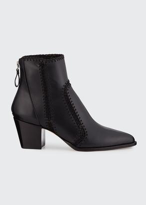 Alexandre Birman Benta Stitched Leather Block-Heel Booties