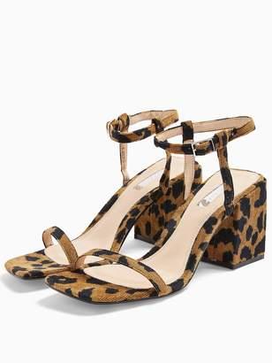 Topshop Nora Square Toe Block Heel Leopard Sandals - Leopard