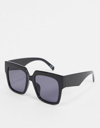 ASOS DESIGN '70s oversized chunky square sunglasses in shiny black