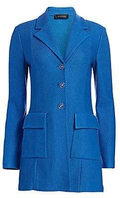 St. John Women's Honeycomb Knit Stretch-Wool Long Jacket