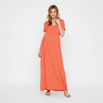 Mama Licious Mamalicious Womens Mltatianna Short Sleeve Jersey Maxi Dress A Emberglow