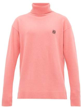Loewe Anagram-embroidered Wool Roll-neck Sweater - Mens - Pink