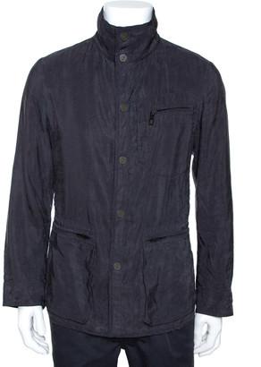 Giorgio Armani Slate Grey Linen Cotton Zip Front Overcoat S