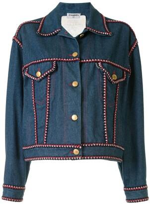 Chanel Pre Owned Braided Trim Denim Jacket