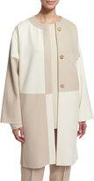 Shamask Long-Sleeve Button-Front Kimono Coat, Ivory/Tan