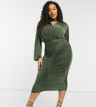 ASOS DESIGN Curve choker ruched long sleeve midi dress in dark olive