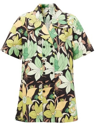 Fendi Double-breasted Dream Garden-print Cotton Shirt - Womens - Black Print