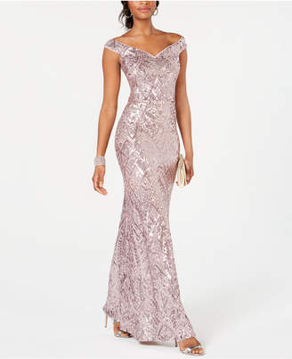 Betsy & Adam Off-The-Shoulder Sequined Gown
