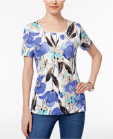 Karen Scott Floral-Print T-Shirt, Only at Macy's