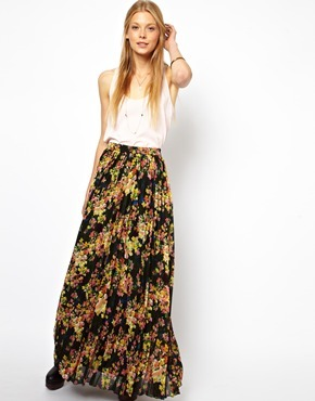 Asos Printed Pleated Maxi Skirt - Multi