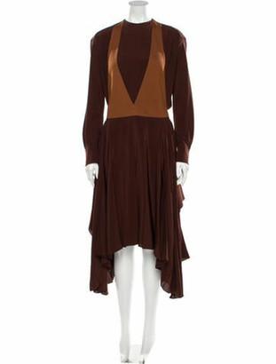 Chloé Silk Knee-Length Dress w/ Tags Brown