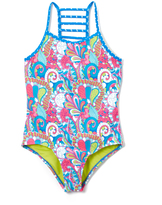 YMI Jeanswear Surf the Web Pool Party Ladder-Back One-Piece Girls
