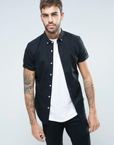 Asos Skinny Shirt In Black Twill With Short Sleeves