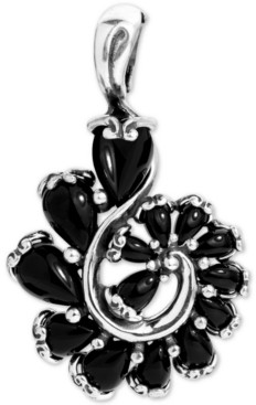 Carolyn Pollack Black Agate Swirl Pendant in Sterling Silver