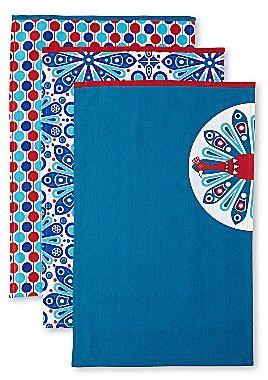 Jonathan Adler Set of 3 Floral Dish Towels
