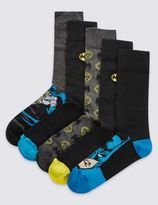 Marks and Spencer 5 Pairs of Cotton Rich BatmanTM with Embroidered Socks