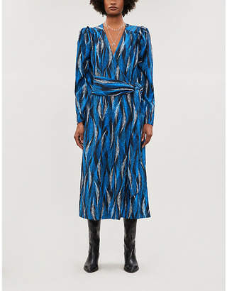 HAPPY X NATURE Alpha feather-print crepe wrap midi dress