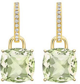 Kiki McDonough Kiki Classic Cushion Drop Earrings in Green Amethyst