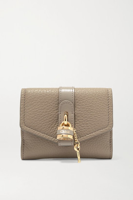 Chloé Aby Embellished Textured-leather Wallet - Gray