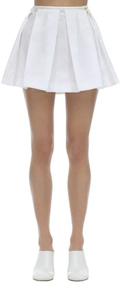 Courreges Pleated Cotton Poplin Mini Skirt