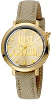 Just Cavalli 34mm Logomania Watch w/ Leather Strap, Beige