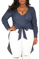Plus Size Women's Poetic Justice Randa Wrap Denim Fishtail Top