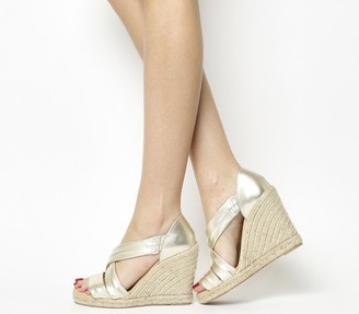 Office Holiday Cross Front Espadrille Wedges Gold Leather