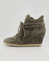 Ash Bowie Suede Wedge Sneaker, Green