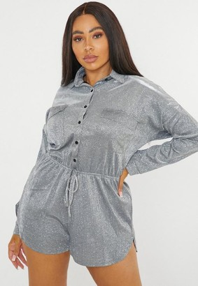 Missguided Plus Size Silver Metallic Shirt Romper