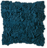 Surya Felt Pillow with Textured Floral Front