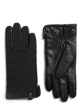Mackage Haan Leather Gloves For Men With Nylon Chevron Quilted In Black
