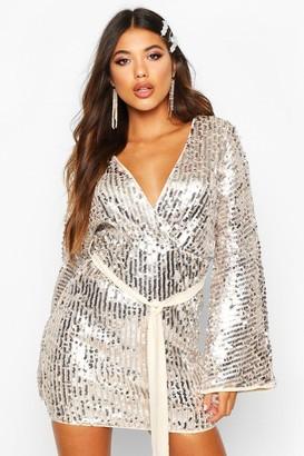 boohoo Stripe Sequin Kimono Belted Bodycon Dress