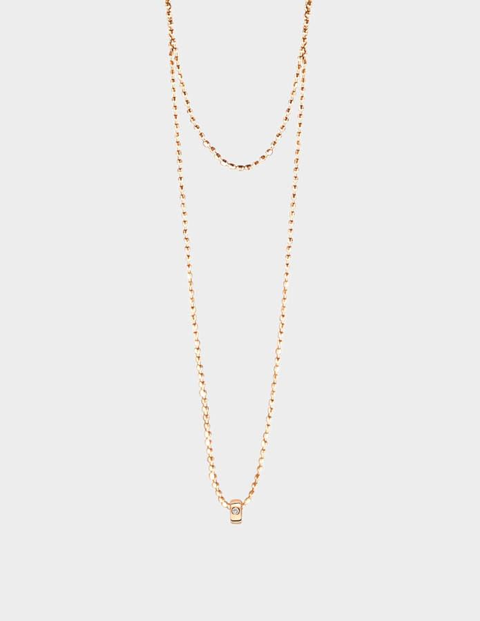 ginette_ny Mini tube & Diamond 18-karat rose gold sautoir
