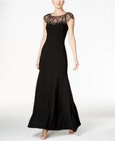 Xscape Evenings Petite Beaded Cap-Sleeve Gown