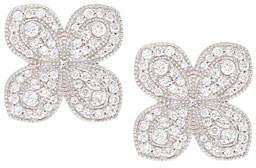 Jamie Wolf Scallop Pavé Petal Earrings with Diamonds in 18K White Gold