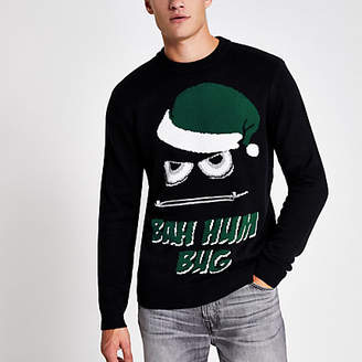 River Island Black 'Bah humbug' knitted Christmas jumper